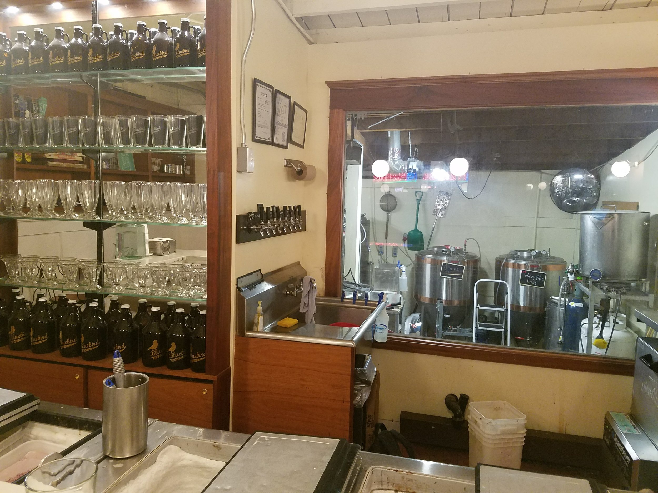 Bluebird Brewery and ice cream shop. Tiny little brewery in the back