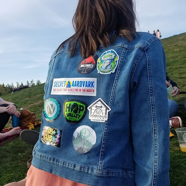 How many stickers before she notices?? #beer #stickers #jeanjacket #denim #gasworks #seattle #fremont