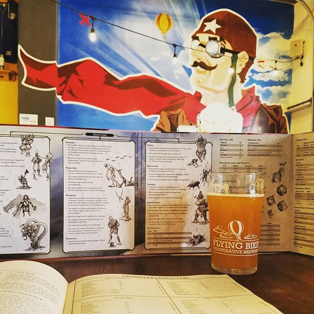 Prepping to run a little DnD at Flying Bike for board game night. I have high hopes for what will happen when I combine my two favorite things but low expectations. The amount of pitchers I'm about to imbibe is gonna make DMing tricky.  #boardgames #brewery #flyingbike #ipa #dming #dnd #dungeonsanddragons #pints #pitchers #boardgamenight #pitcherandpie #flyingbikecoop #5thedition #dungeons #dragons #seattle #greenwood #phinneyridge