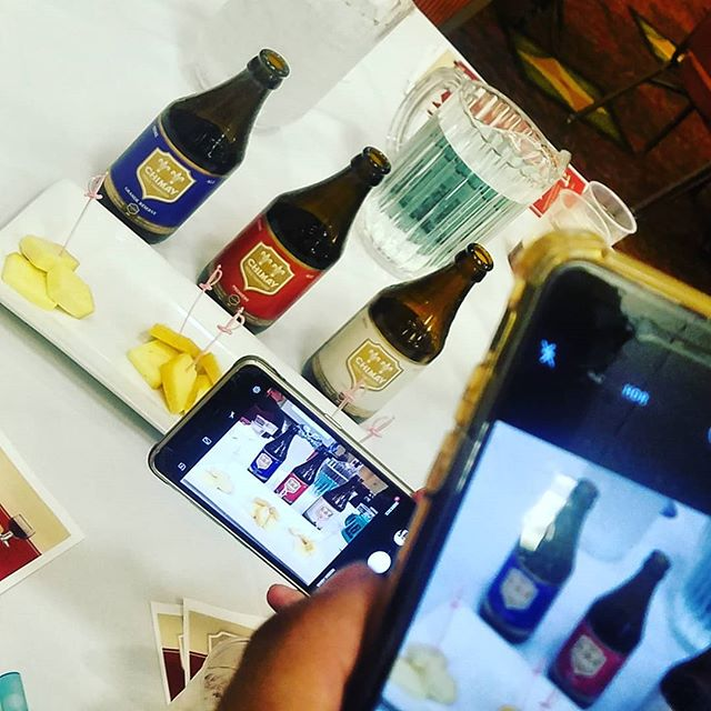 When there's a cheese and Chimay tasting at the Beer Instagramers Convention (aka #beernow19) it's hard to get a clear shot!  #chimay #chimayusa @chimayusa
