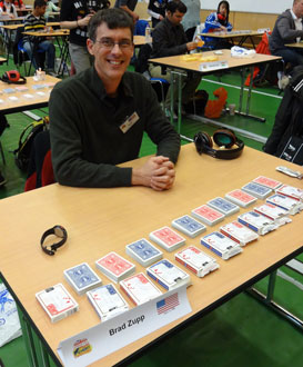Brad prepares to memorize decks of cards for one hour at the 2012 World Memory Championships in London. He accomplished 9 decks perfectly; in 2013 he memorized 11.5, and in 2014 he memorized 13 decks in one hour.