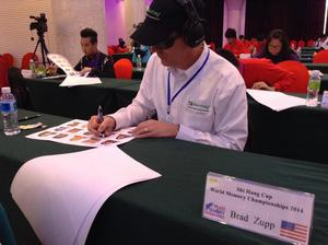 Memorizing names and faces at the World Memory Championships 2014 in China.