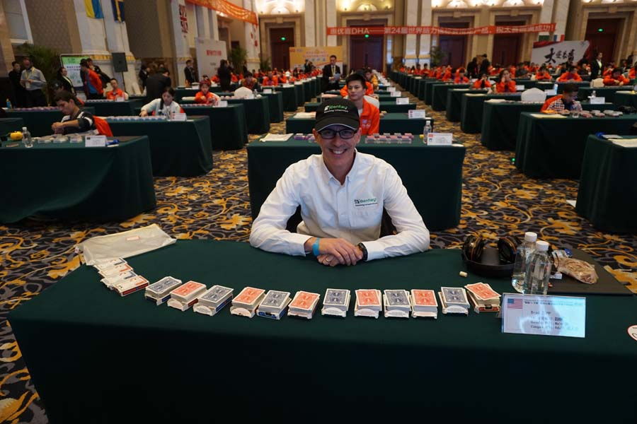 Brad prepares to memorize 12 decks of cards in 60 minutes at the World Memory Championships, Chengdu, China, 2015.