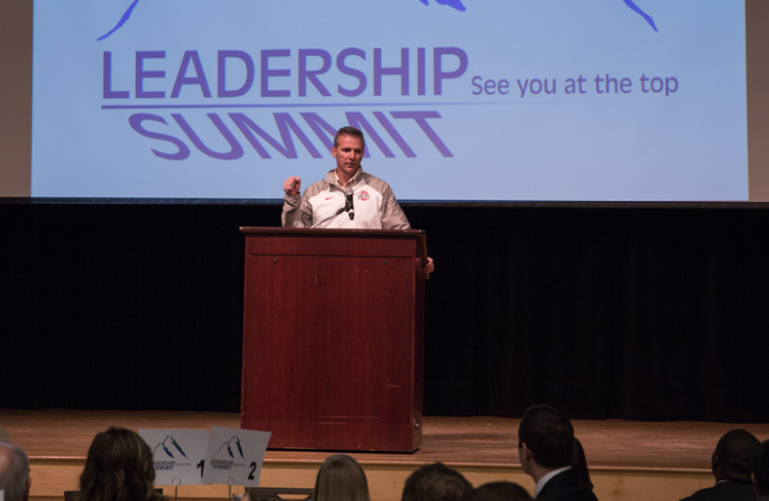 Urban Meyer addresses students at the OSU Leadership Summit [Photo: Cedric Sze/The Ohio State University]