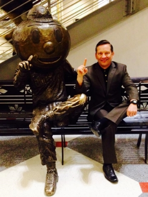 Meeting with Brutus before speaking at OSU Leadership Summit.