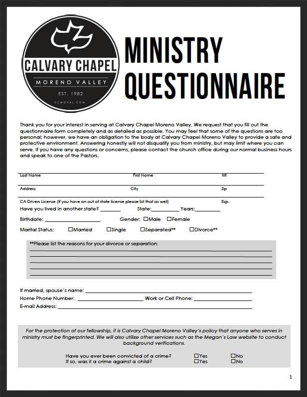 Ministry Questionnaire