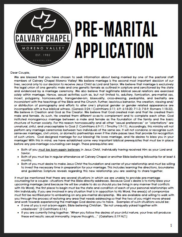 Pre-Marital Application
