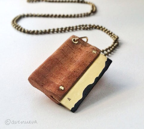 Wood and Brass Squeegee Pendant