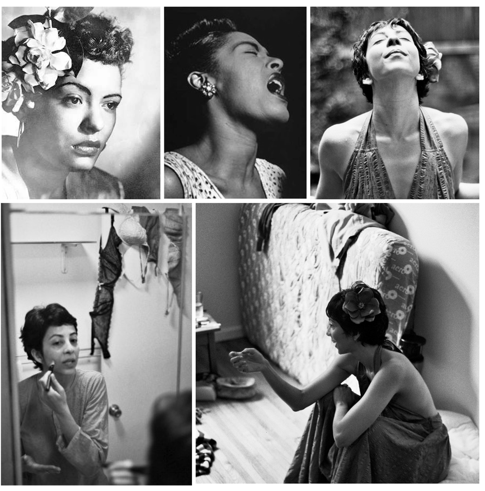 Billie Holiday was one of our inspirations for Radhika Vaz. Specifically these two shots in the upper left and upper middle photos.