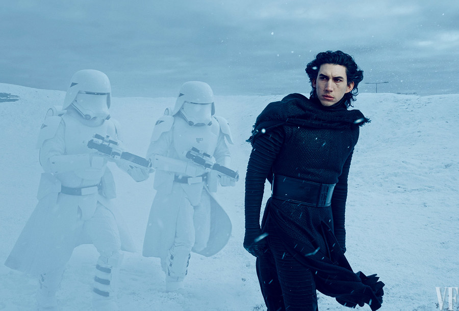 Annie Leibovitz captures two First Order Snowtroopers following closely behind Kylo Ren (played by Adam Driver). Vanity Fair-June 2015