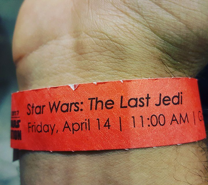 Wristbands for  The Last Jedi  Panel handed out at 6 A.M.