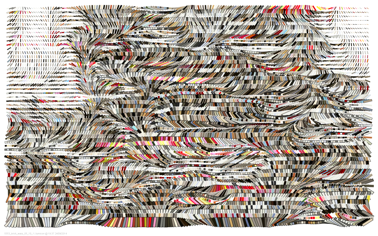 Holger Lippmann, brick-warp 10, 2014 made with code (processing) vector for print