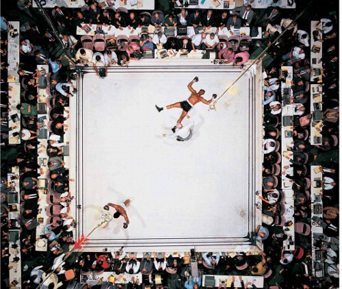 Aerial Shot of Muhammed Ali after knocking out Cleveland Williams in 1966.
