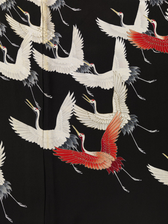 Detail of kimono with flying cranes, Japan
