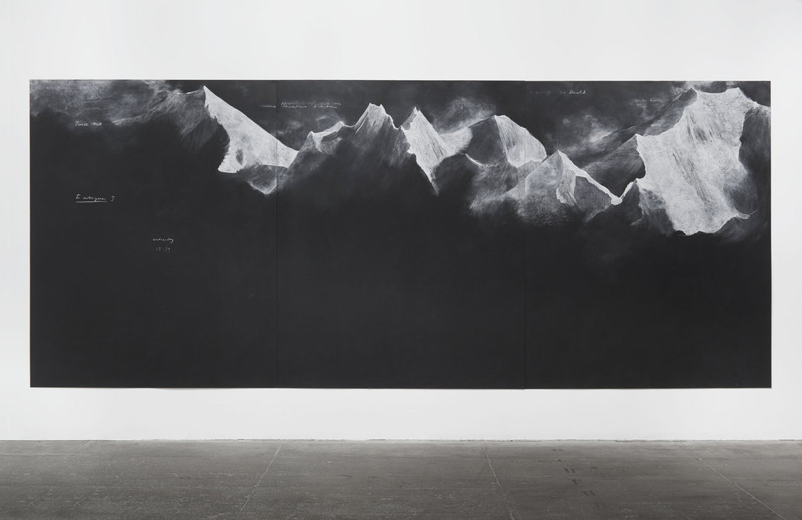 Tacita Dean, 2012, chalk on blackboard, Fatigues E - 229.8 x 556 cm.