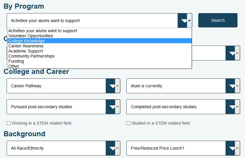 Now you have an alumni management tool that makes it easy to search and match the right alumni for your students and programs.