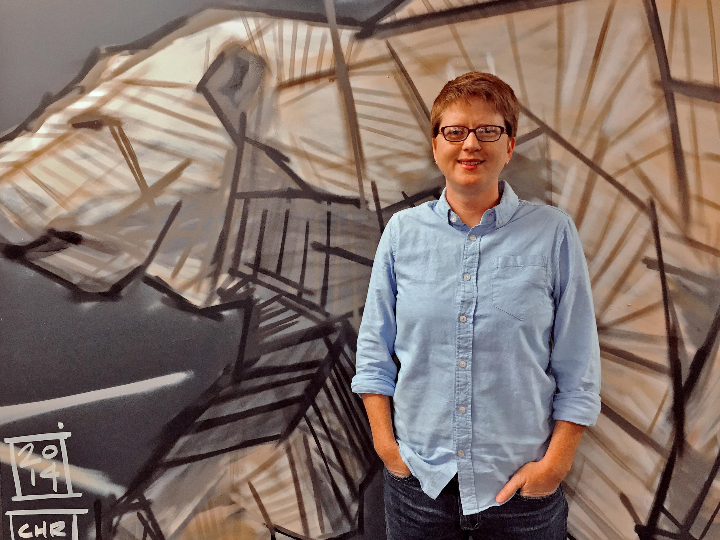 Jennifer Tribe in Auvik Networks' Waterloo office