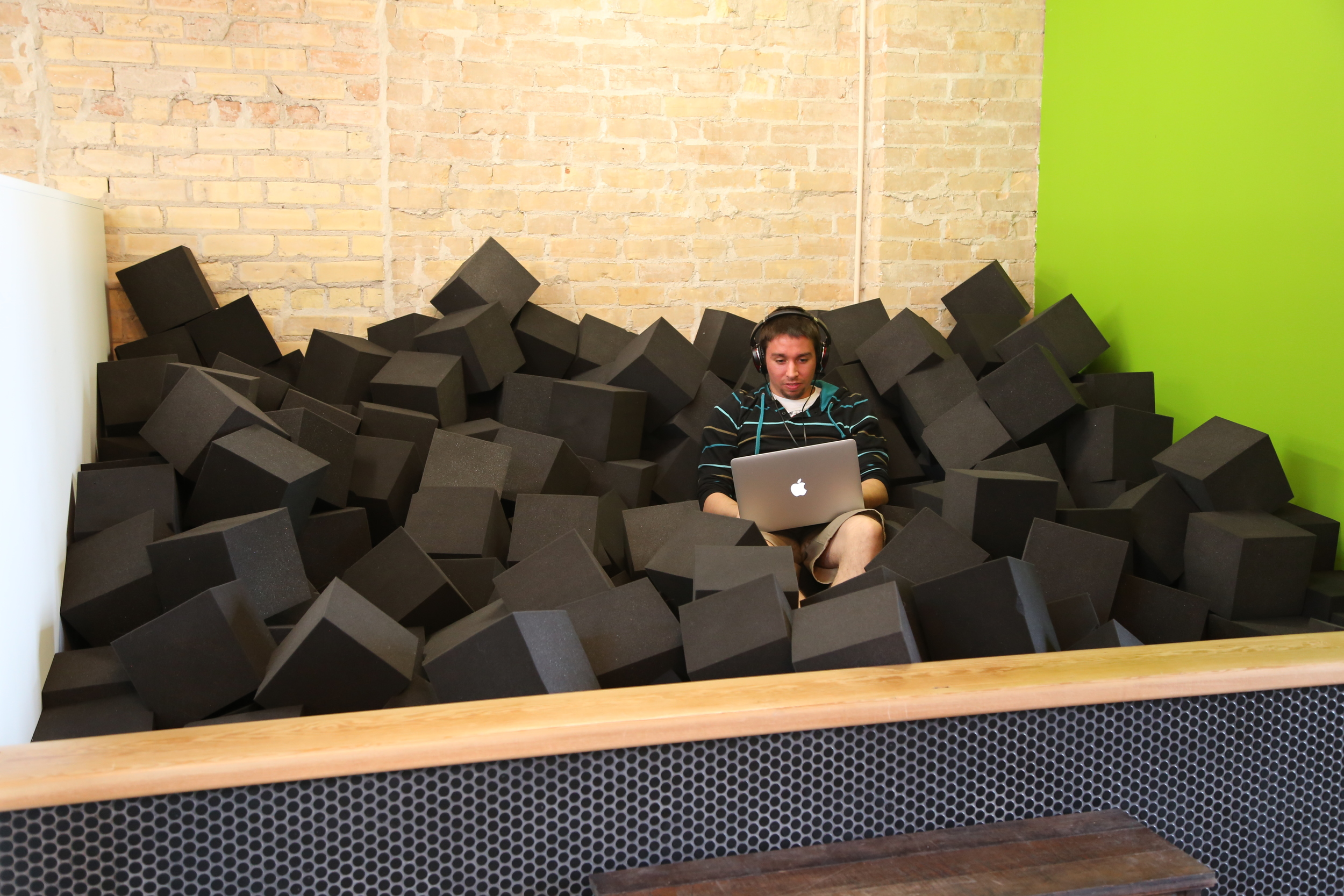 The recently renovated Vidyard office is in downtown Kitchener; with features like graffiti walls, standing desks, and a foam pit. Photos courtesy of Vidyard.