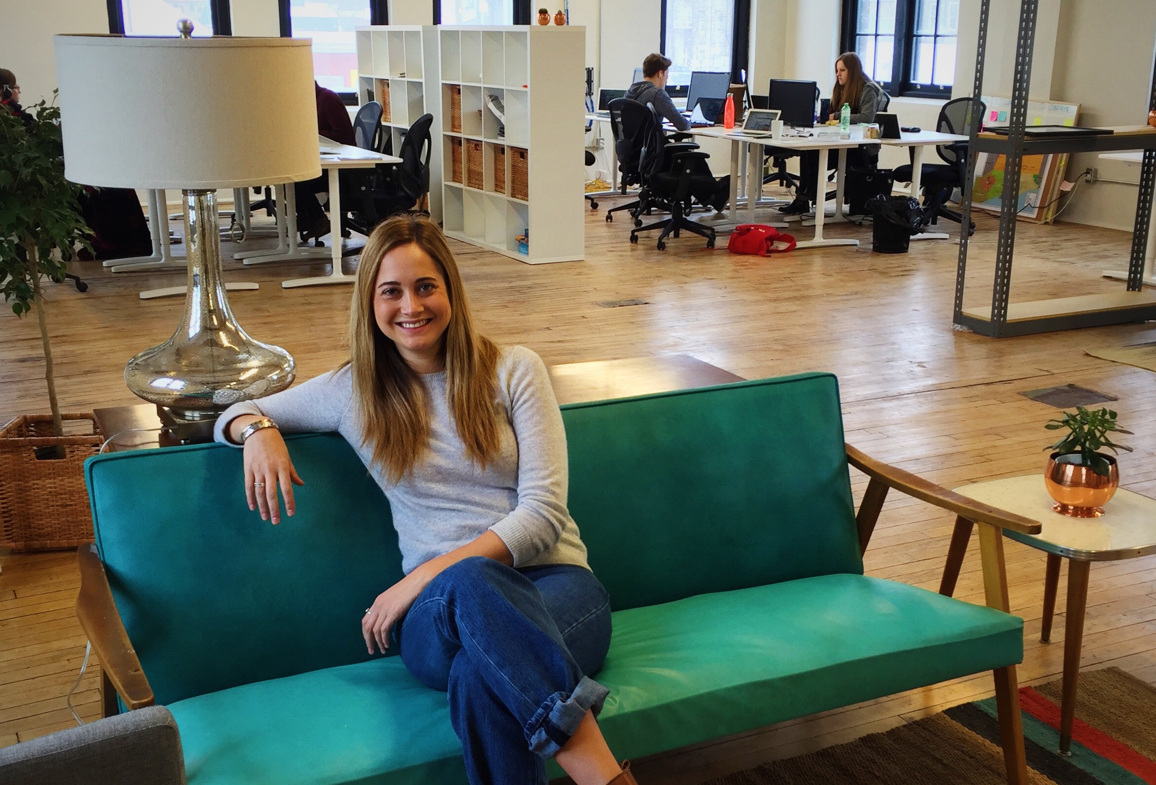 Laura Brodie enjoying Bridgit's new office