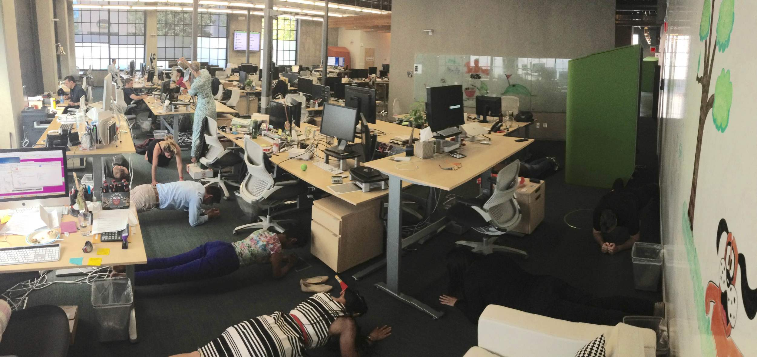 A team from MongoDB planking during their daily meeting. If your teams daily standup meetings ramble on, try this! Here are the  rules .