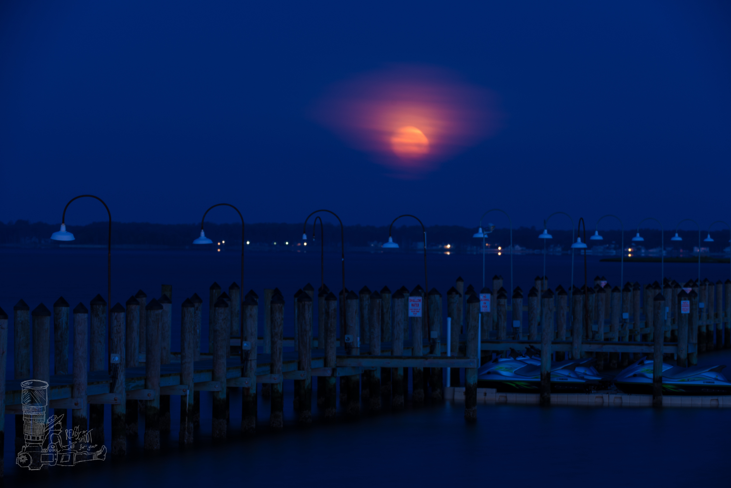 Moon Setting Over Rehoboth Bay