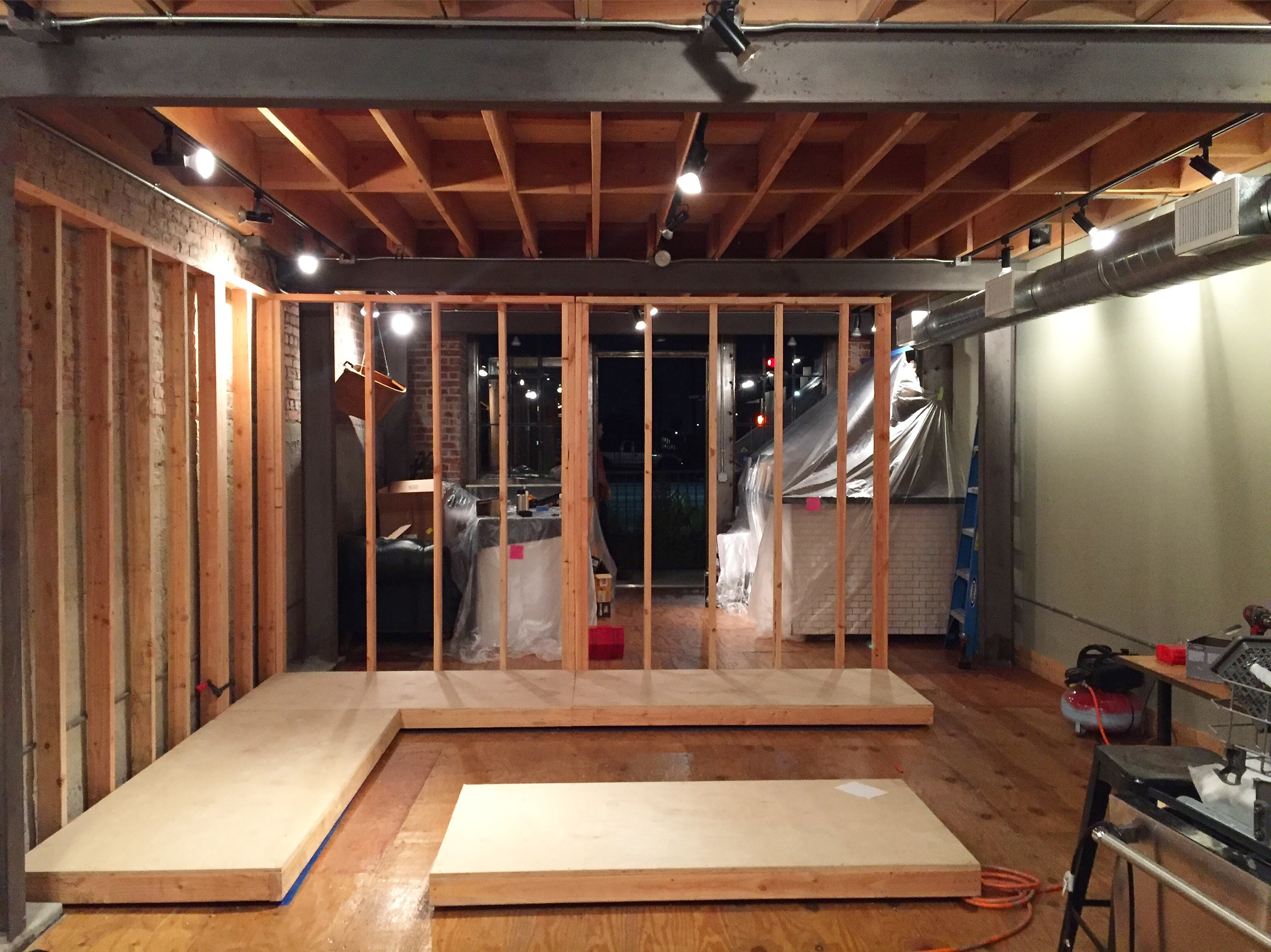 Day one:mobile units sized and assembled, walls framed.