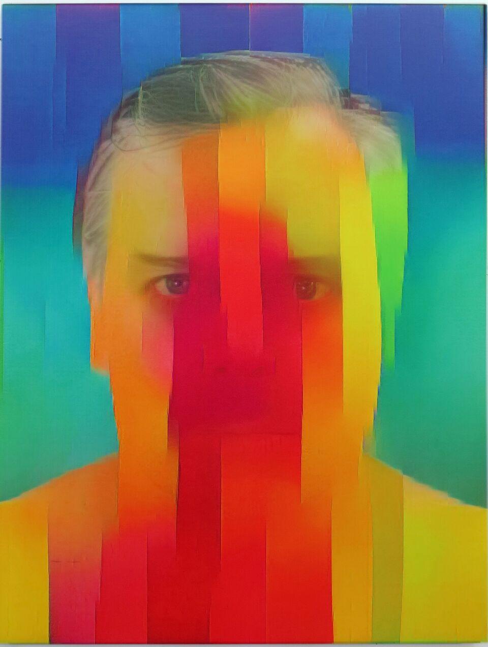 Artificial Intelligence Style Transfer Self-Portrait (Ellsworth Kelly & My Face)