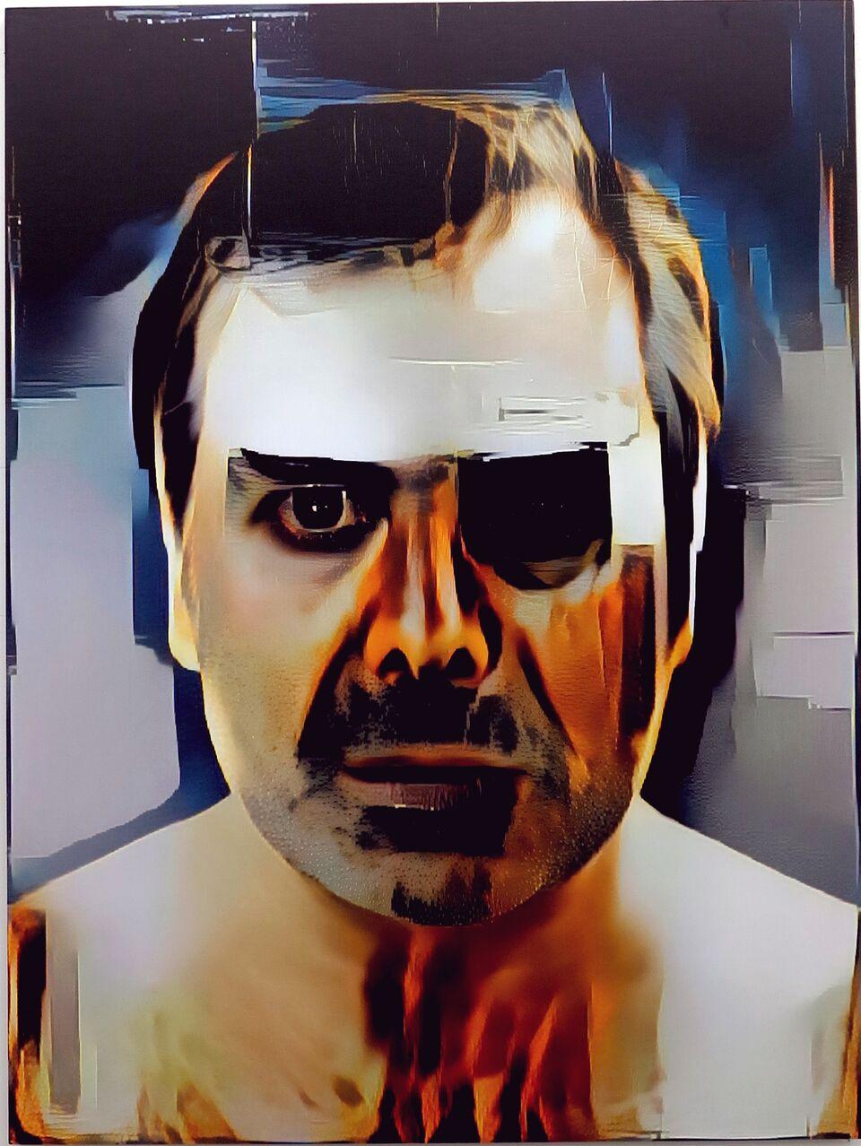 Artificial Intelligence Style Transfer Self-Portrait (Wade Guyton & My Face)