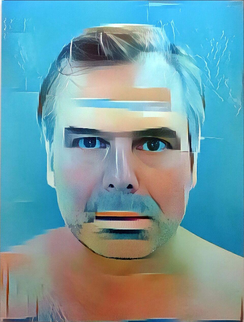 Artificial Intelligence Style Transfer Self-Portrait (David Hockney & My Face)