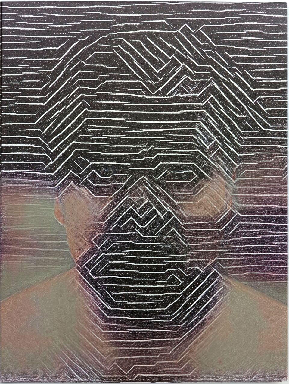 Artificial Intelligence Style Transfer Self-Portrait (Frank Stella & My Face)
