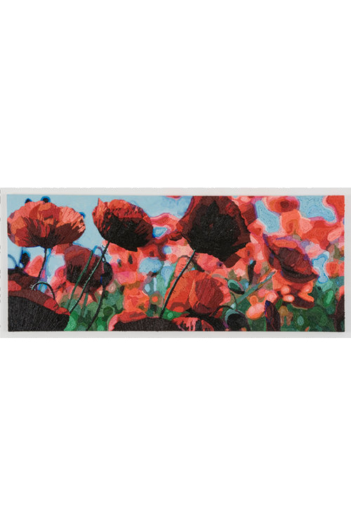 Pjätteryd Oil Painting: Red Flowers with Blue Sky