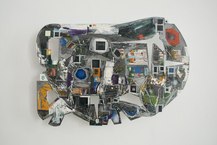 """Permanent Brain Damage, 21 1/2"""" x 15 1/2"""", 1998. Oil and mixed media on paper mounted on wood."""