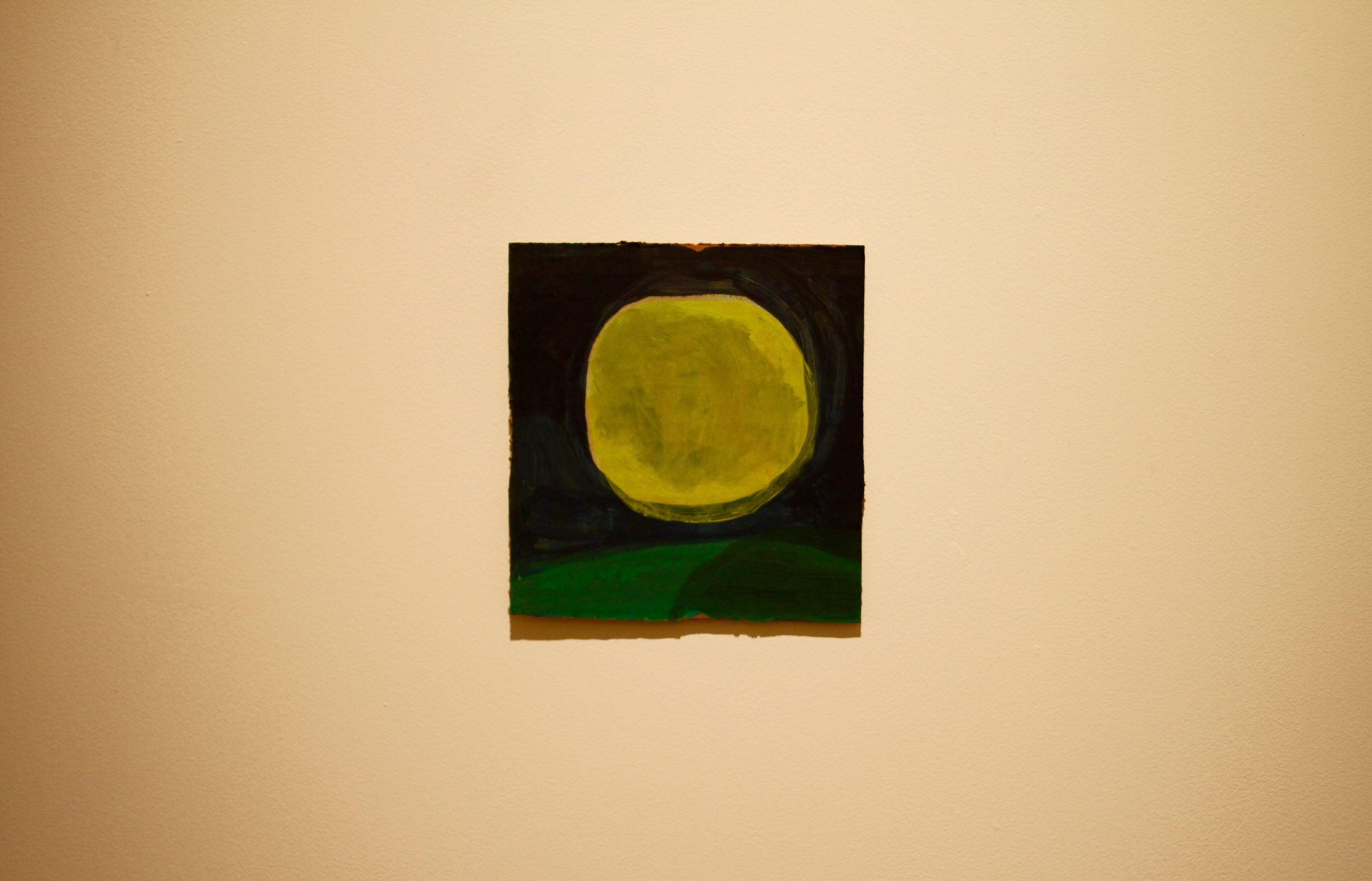 "Moon. 2015. Acrylic on Cardboard (6 5/8""x 6 1/4"")"