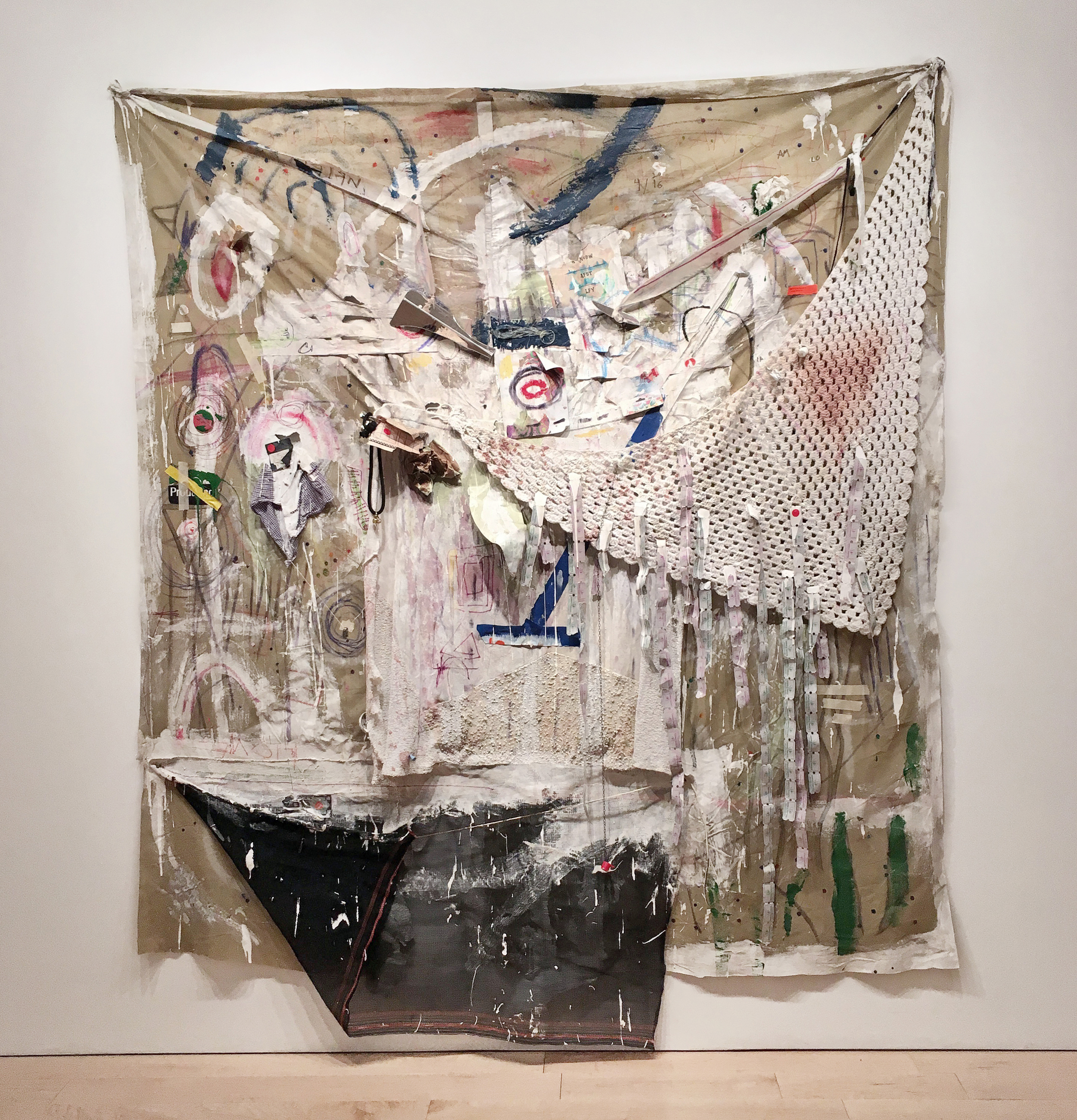 """Shawl Foramen , 2016   consumer byproduct, pigmented adhesives, industrial mesh, on synthetic fabric    79"""" x 92"""""""