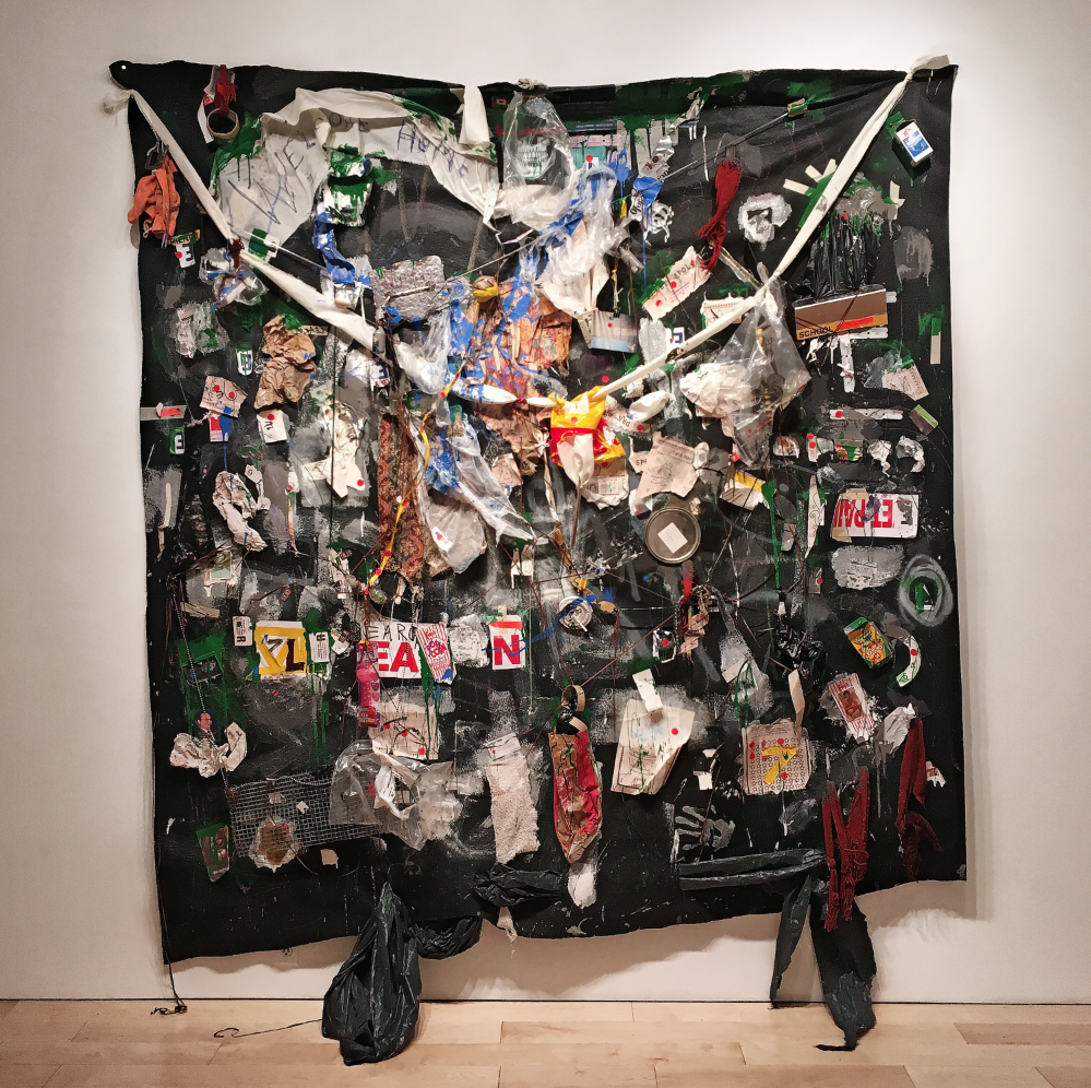 """Neighbor , 2016   consumer byproduct, pigmented adhesives, synthetic materials, on felt    90"""" x 97"""""""