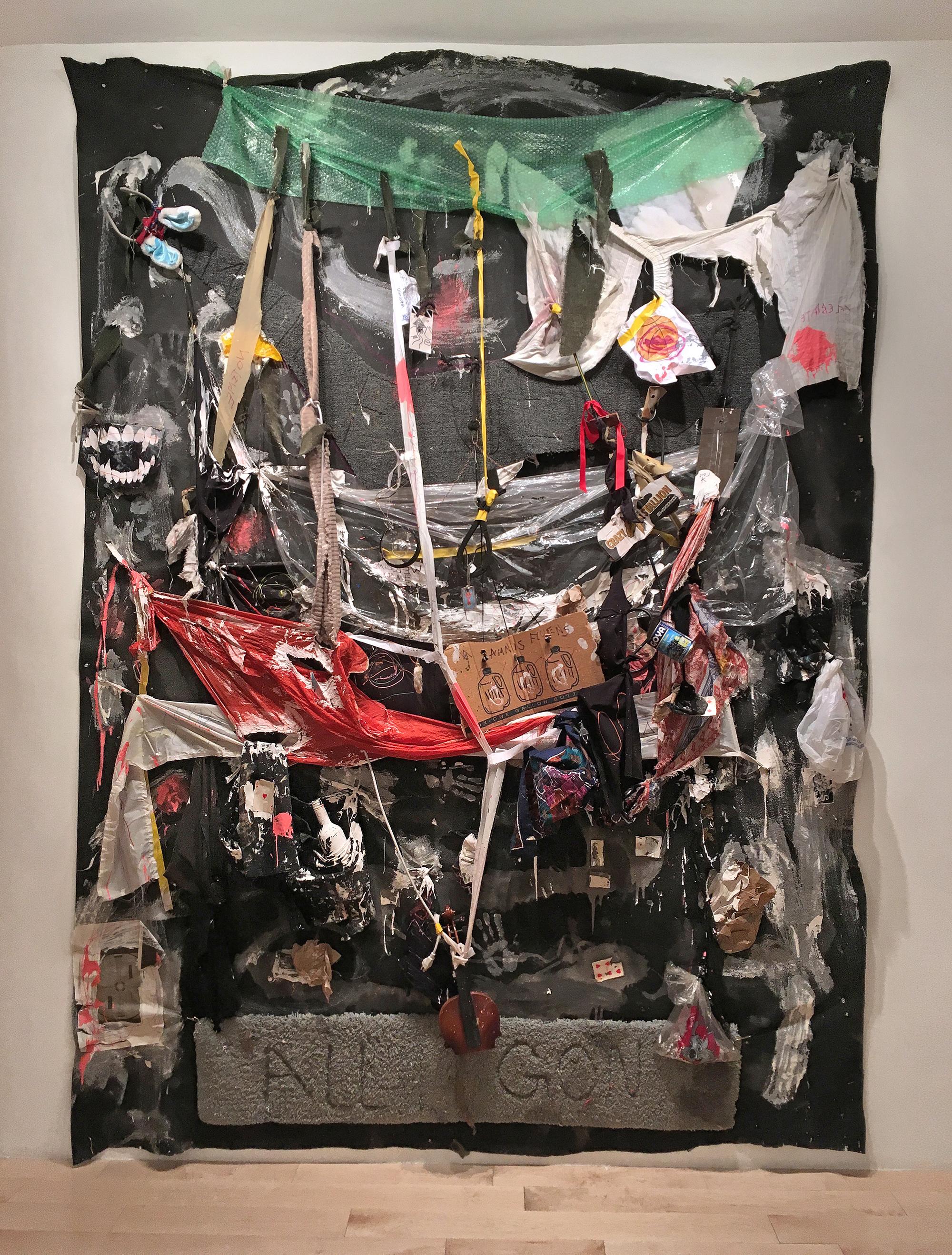 """Amnis Fluens , 2016   consumer byproduct, over burnt shaped carpet, suspended on felt    90"""" x 124"""""""