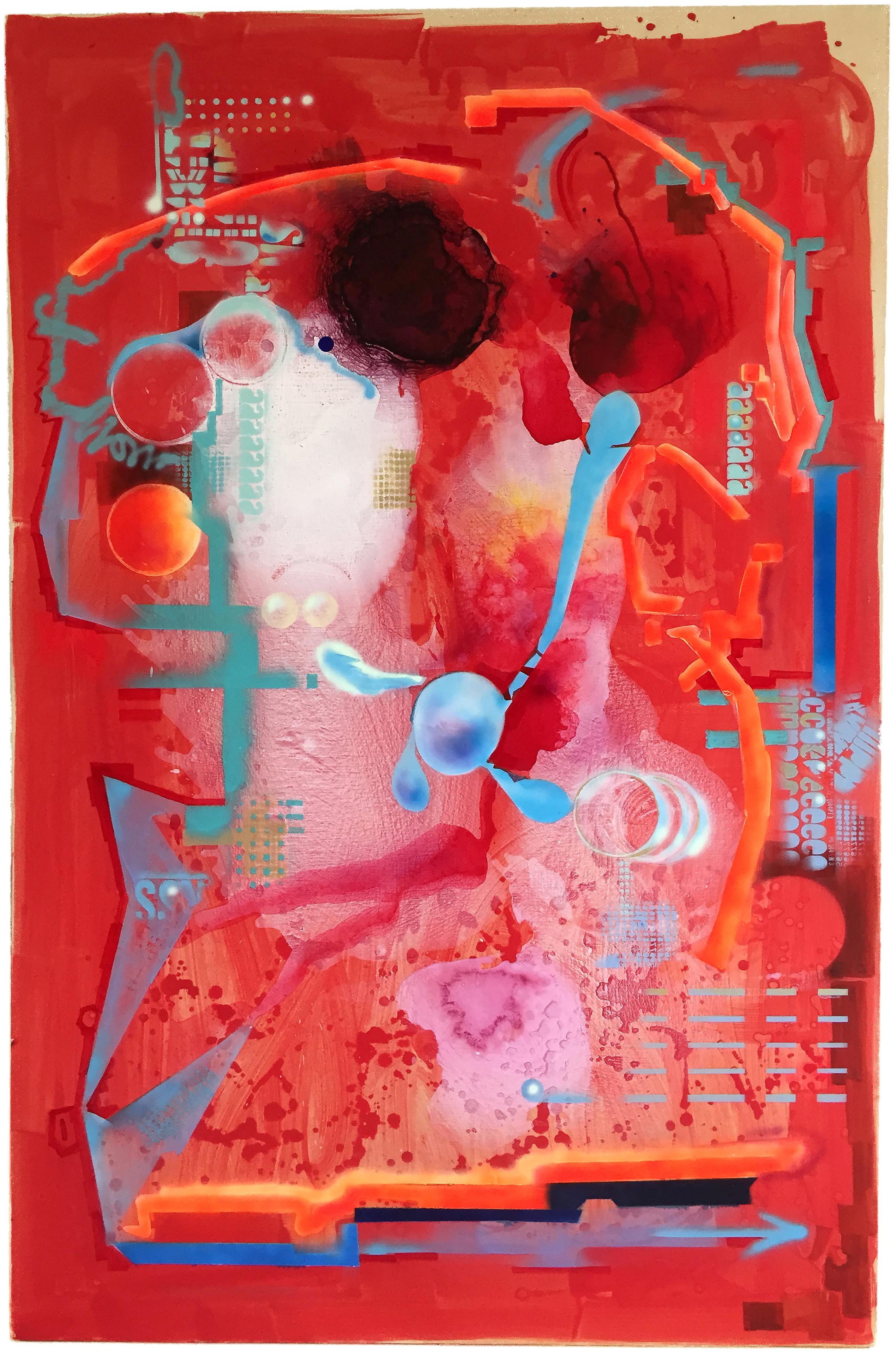 "Red Room , 2016.39"" x 60"", latex paint, acrylic paint, acrylic medium and airbrush on canvas"