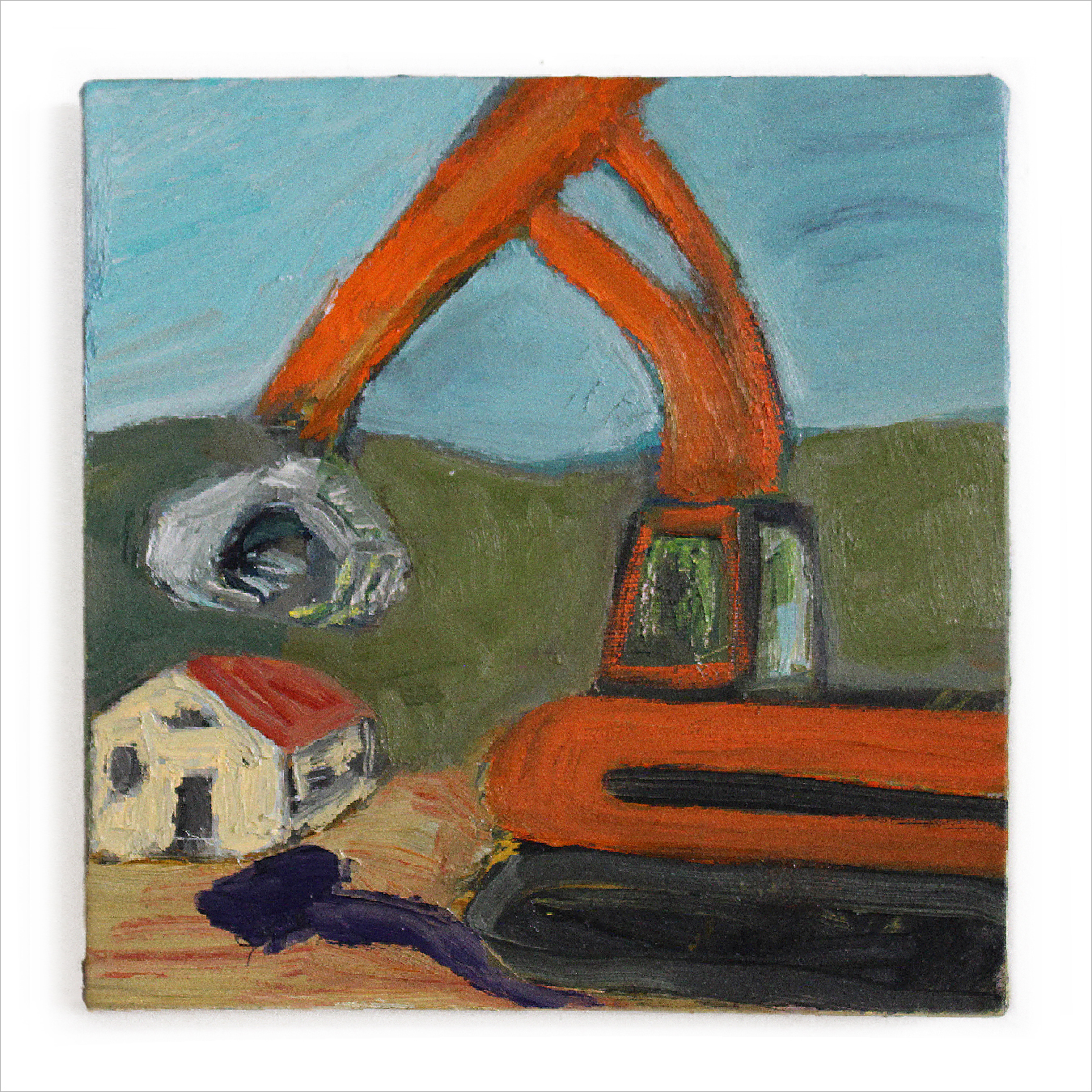 "Illegal Settlement , 8""x8"", oil on canvas, 2017"