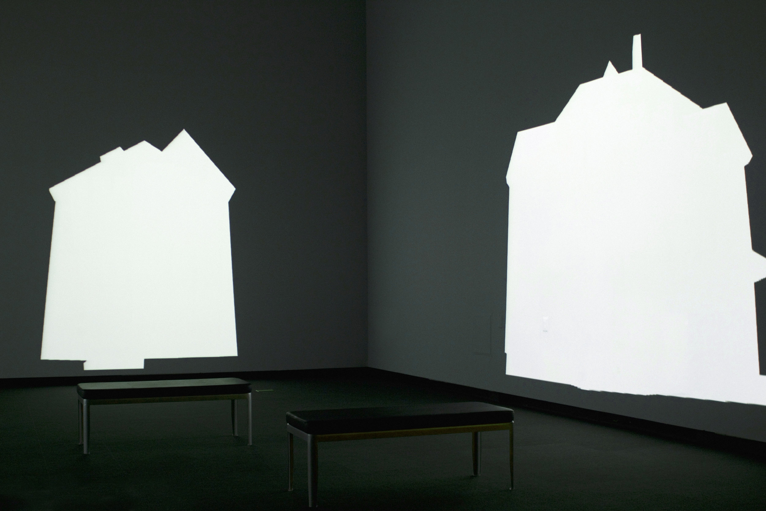 LAST HOUSE.   Carl Lee, 2010 (16:30 loop, 3-channel projection, stereo audio, dimensions variable)