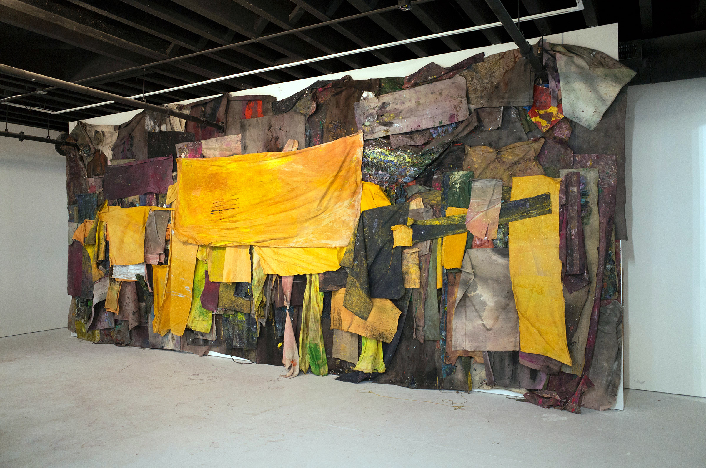 Shanty Town , 2011–present. Rags, tempera. Dimensions variable.