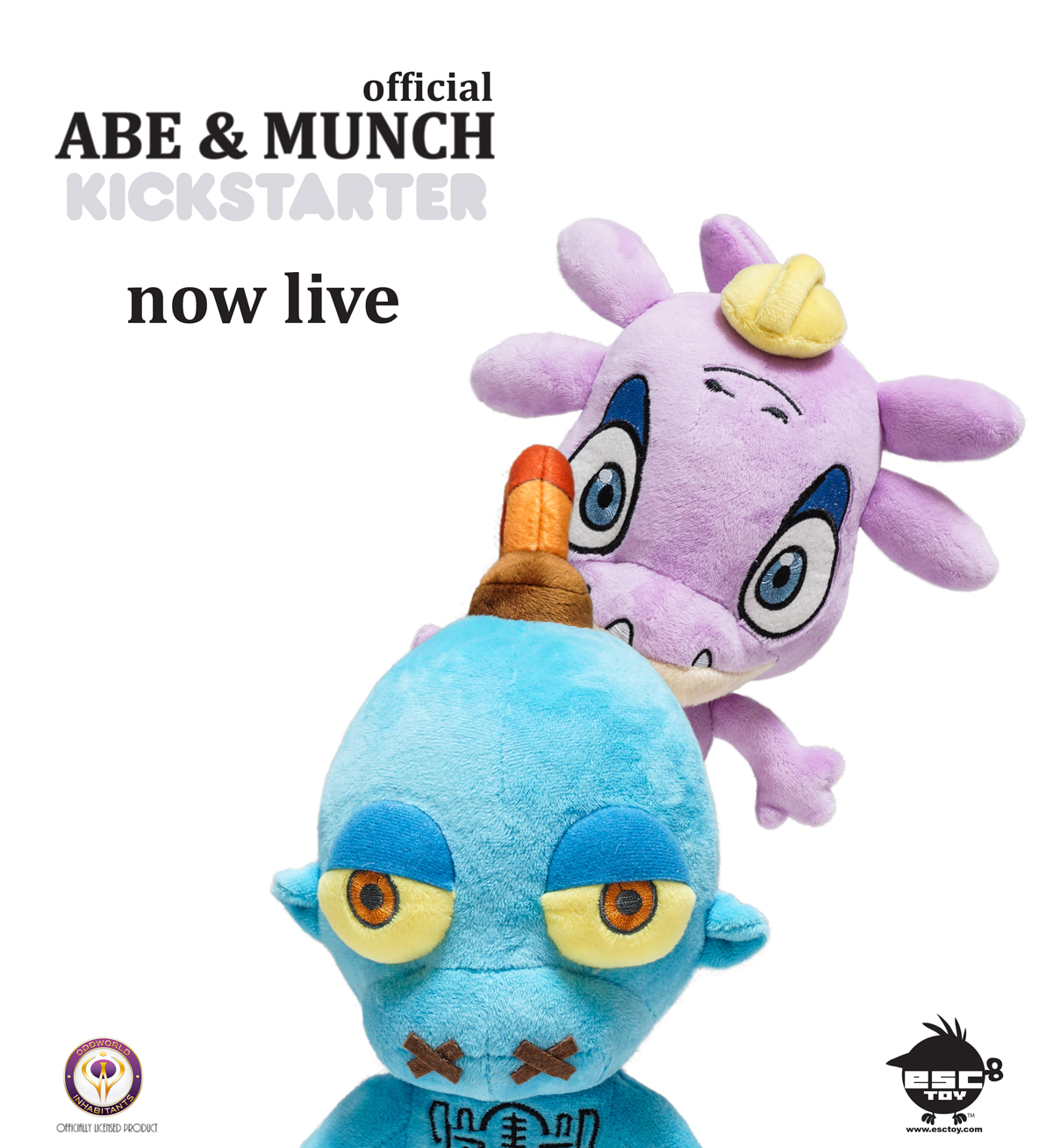 This is the first time that beloved Oddworld brand characters such as ABE & MUNCH are being presented as collectible plush with a sound-chip function. With the blessing of ODDWORLD INC, ESC has now launched a Kickstarter to fund the initial production. Among ABE & MUNCH plush there are a limited edition items that are must haves ODDWORLD fans. Click here to visit the project-https://www.kickstarter.com/projects/731983185/oddworld-abe-and-munch-plush-project  Thank you for your support!