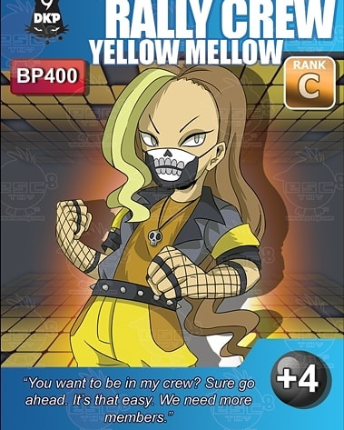"In Japanese, the word for Friday is 金曜日. The 金 means ""gold"", and what better card to post on the golden day of the week than our yellow Rally Crew card- Yellow Mellow?⠀ ⠀ Faction: Survivor⠀ Rank: C⠀ BP: 400⠀ DKP: +4⠀ ⠀ While the card description and name are very laid back, the impressive +4 and 400BP on this card make it equally as threatening as Blue Hue in stats.⠀ ⠀ Now that the week of Rally Crew is over, who's ready to RALLY together for some fun with Play Fair Shows in Oregon on September 7th?⠀ ⠀ #9DKP #playfairpdx #rallycrew #yellowmellow #TCG"