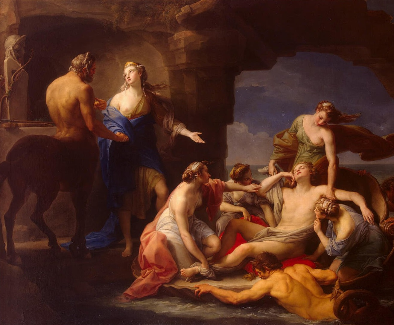 Thetis takes achilles from the centaur chiron, by batoni pompeo, 1770