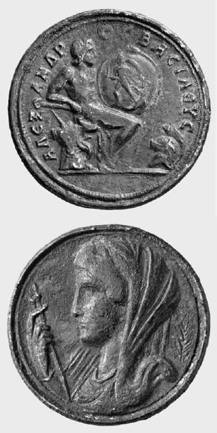 Numismatic Collection Berlin, 1812/306: Brass contorniate, Alexander the Great as Achilles and Olympias as Thetis.