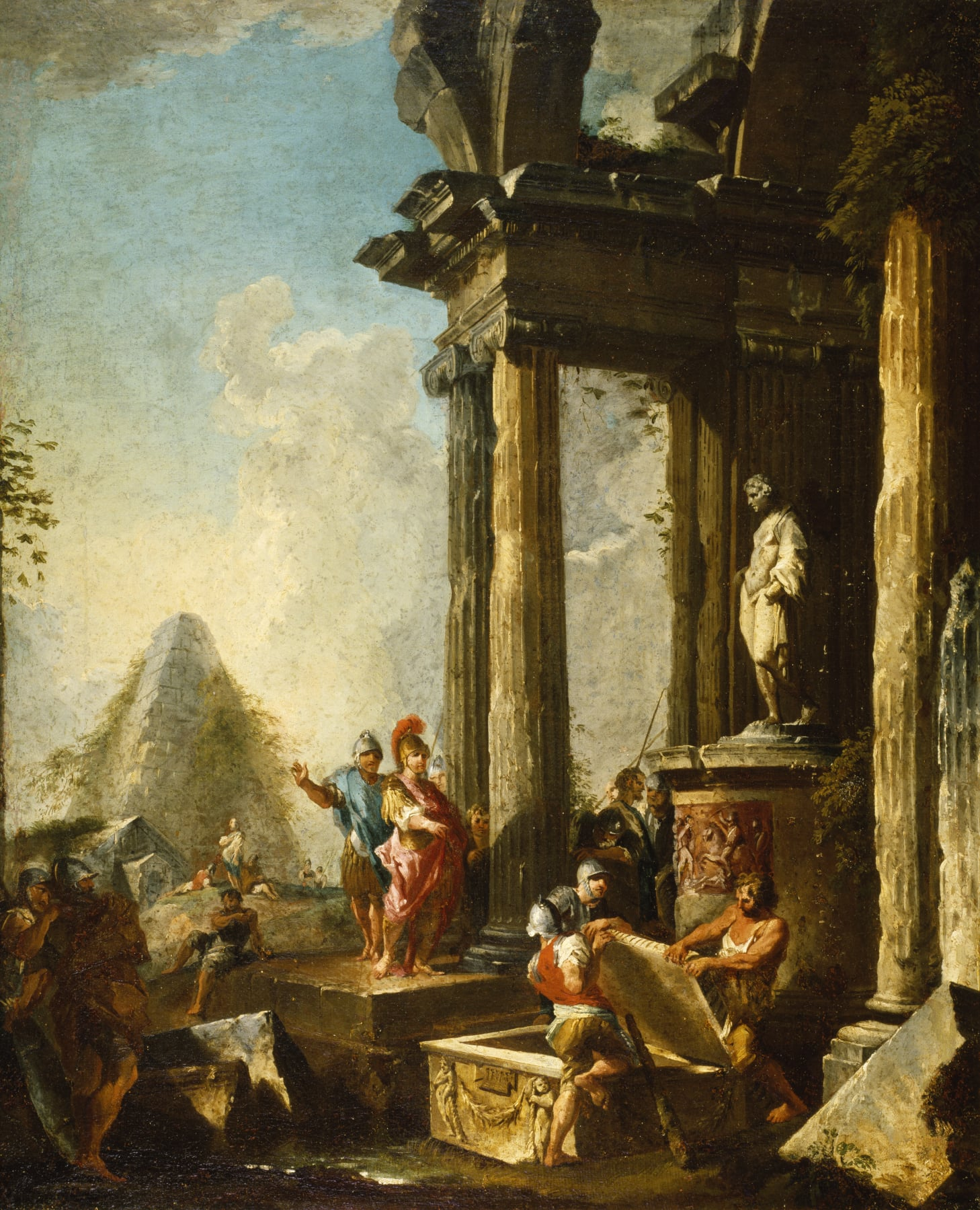Alexander the Great at the Tomb of Achilles , Giovanni Paolo Panini, 1718-1719