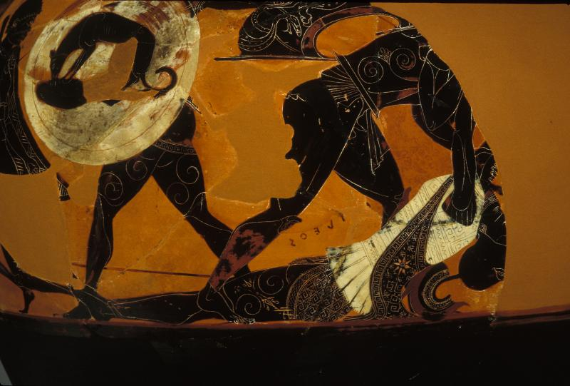 """""""Death of Achilles"""" scene from an Archaic Period Amphora, Exekias 540-430 BCE, Penn Museum collection; in the scene, Greek warrior Ajax can be seen leaning over Achilles' body"""