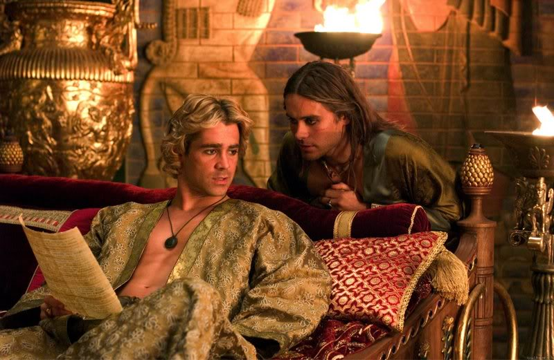 Alexander the Great (seated) and Hephaestion, in Oliver Stone's 2004 film  Alexander