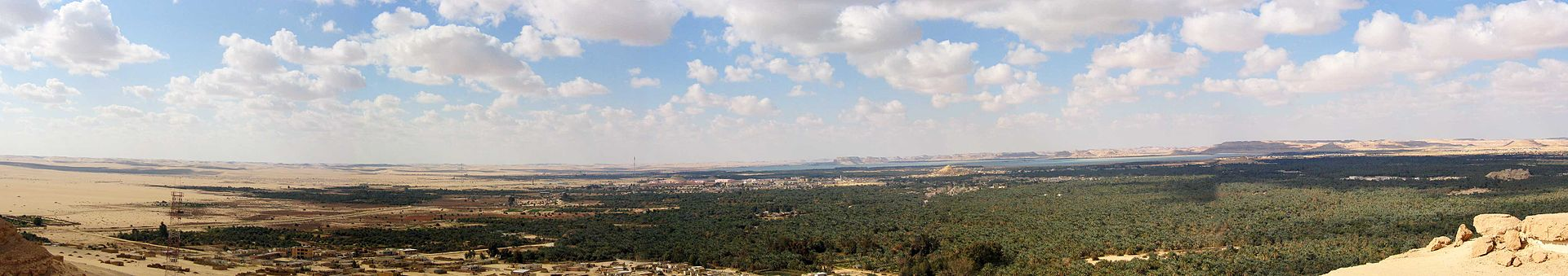A panorama of the Siwah Oasis and surrounding desert
