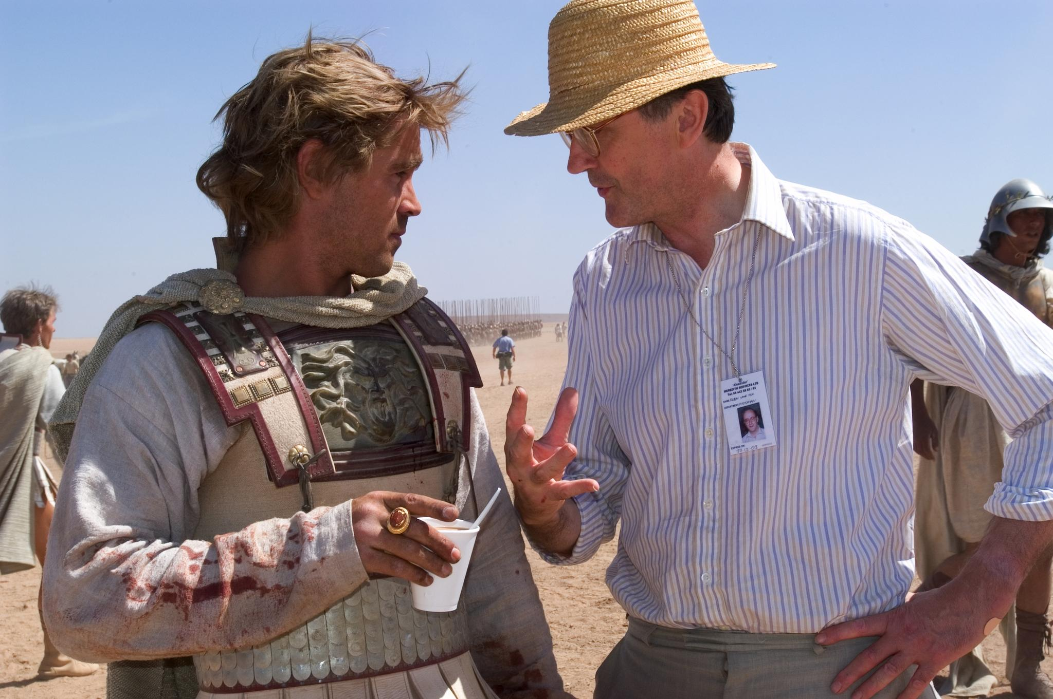 "Historian Robin Lane Fox consults with actor Colin Farrell on the set of ""Alexander"" in 2004. Director Oliver Stone credited Fox's work as one of his key resources in developing the film."