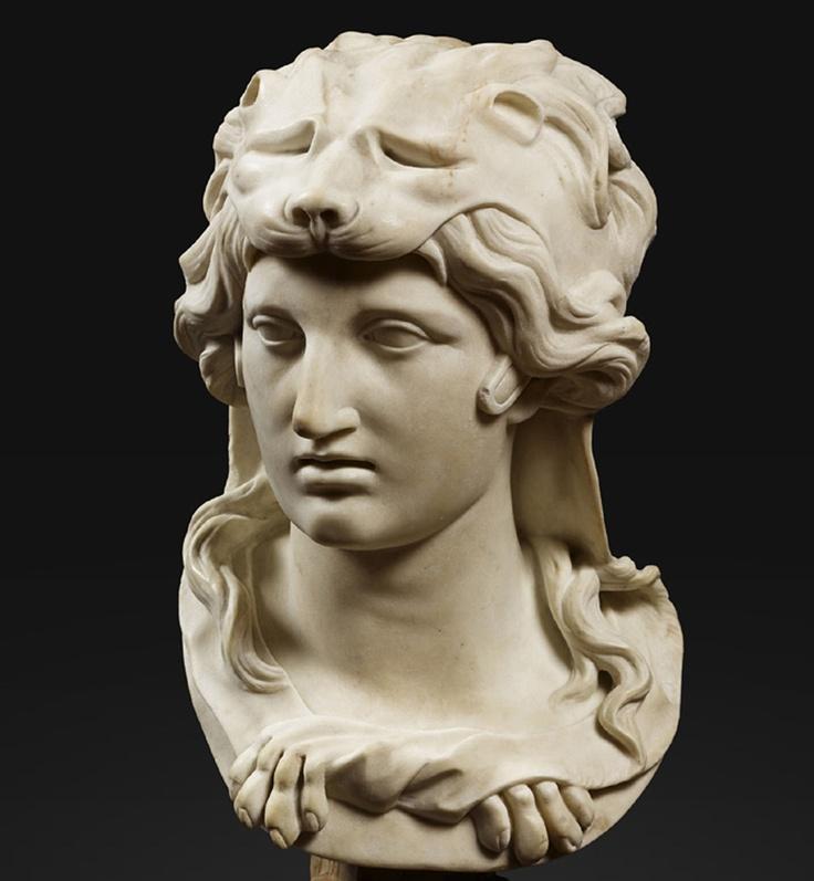 A bust of alexander wearing a herculean hat, artist unknown